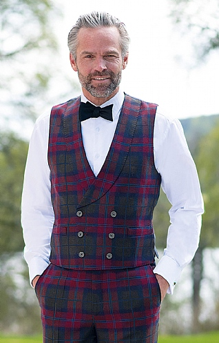 Mens Double Breasted Plaid Waistcoat