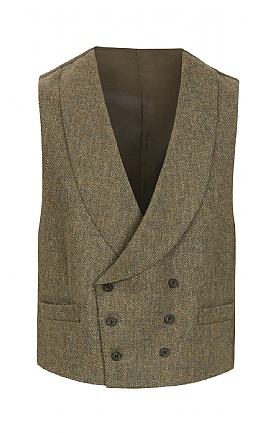 Mens Double Breasted Tweed Waistcoat