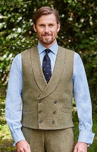 Double Breasted Tweed Waistcoat