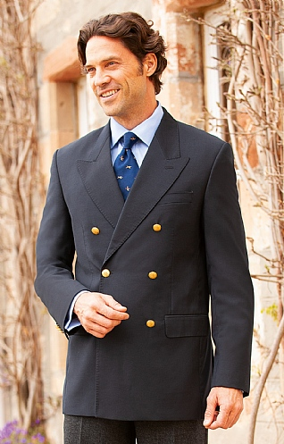 Mens Double Breasted Merino Wool Blazer