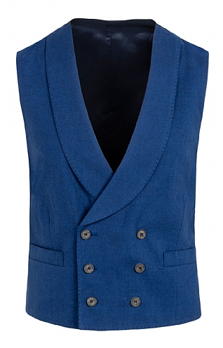 Men's Linen/Cotton Double Breasted Waistcoat