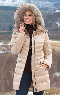 Down Parka with Fox Fur Trim