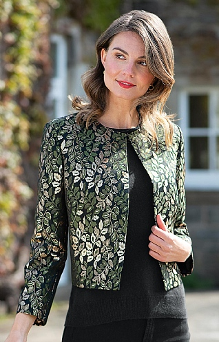 Ladies Leaf Jacquard Jacket
