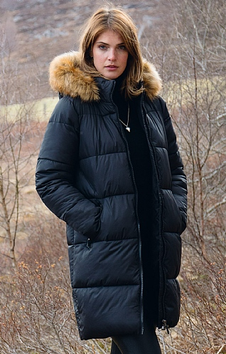 Ladies Faux Fur Trim Parka