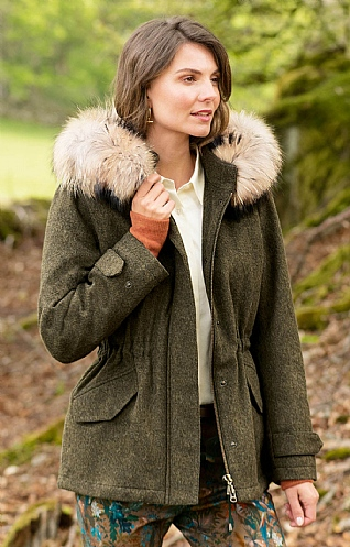 Loden Fox Fur Trim Parka