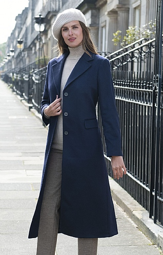 Single Breasted Full Length Cashmere Coat