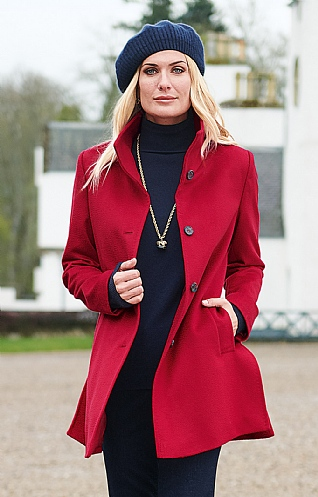 Short Funnel Cashmere Coat