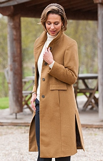 3/4 Cashmere Funnel Coat