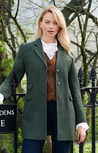 Details about Gerry Weber Ladies Jacket SIZE 18 Grey Herringbone Tweed Wool rich Country lady