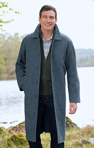 Raglan Sleeve Tweed Coat