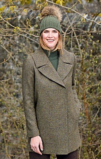 Ladies Crossover Tweed Coat