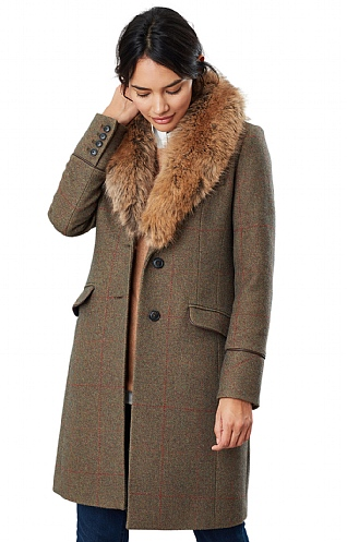 Joules Langley Long Faux Fur Coat