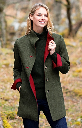 Ladies Tipped Loden Coat