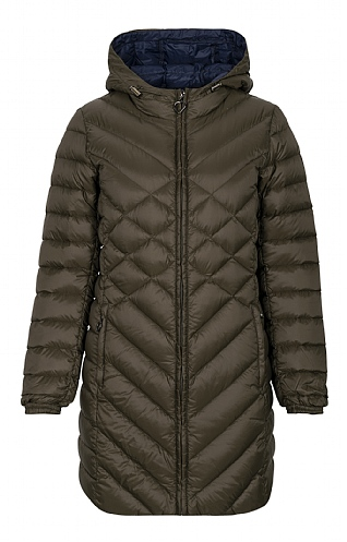 3/4 Length Diamond Quilt Down Jacket