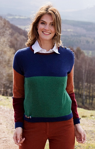 Crew Neck Colour Block Button Jumper