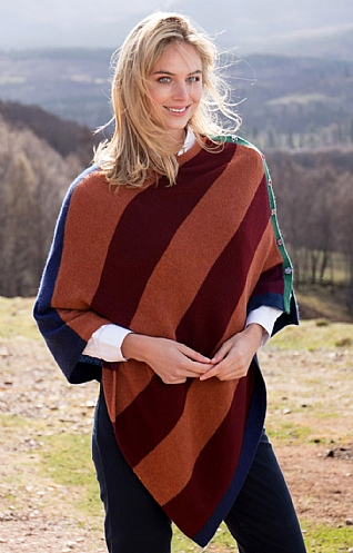 Colour Block Button Poncho