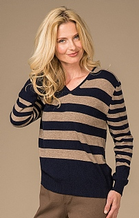 Striped Cashmere V Neck