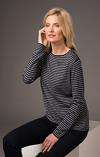 Silk, Cotton and Cashmere Striped Crew Neck