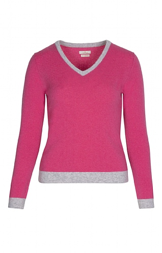 Ladies Cashmere Tipped V Neck