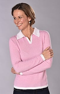 Ladies Cashmere Tipped Shirt Neck