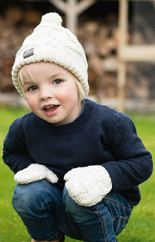 Aran Baby Hat and Mitten Set