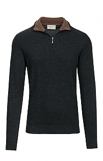 Silk & Cashmere Men's Contrast T-Zip