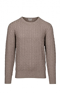 Mens Cashmere 4 Ply Cable Crew Neck