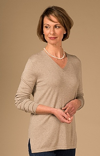 Silk/Cotton Long Sleeve Cashmere V Neck