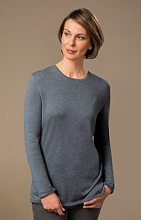 Silk/Cotton Long Sleeve Cashmere Crew Neck