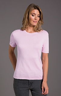 Silk/Cotton Short Sleeve Cashmere Crew