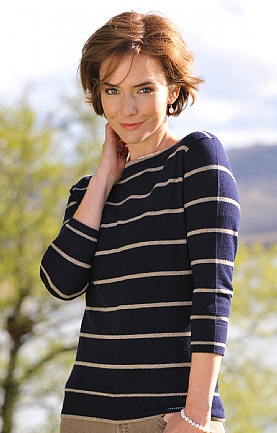 Ladies Cashmere Striped Sweater