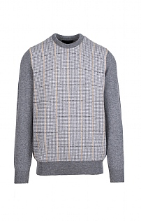 Mens Lambswool Dogstooth Crew