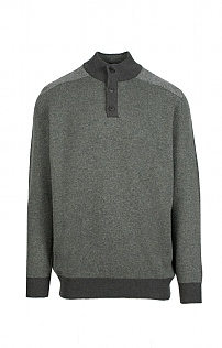Mens Lambswool Birdseye Button Neck