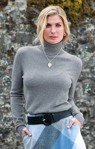 Ladies Cashmere 2 Ply Roll Neck