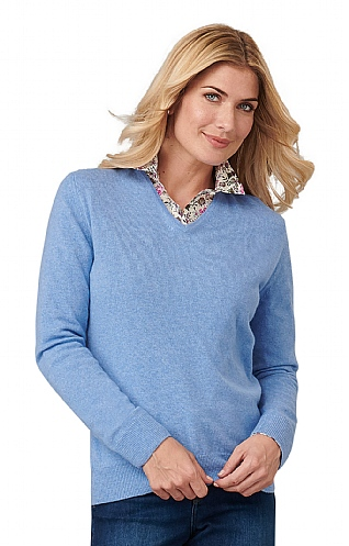 Ladies Cashmere 2 Ply V Neck