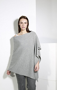 L 3ply Cash Poncho Lt Grey One