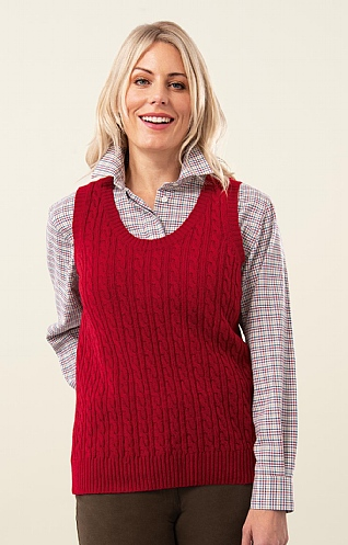 Ladies Country Lambswool Cable Slipover