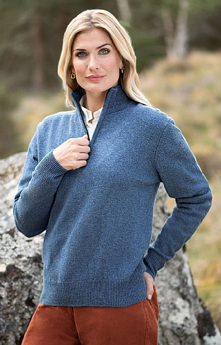 Ladies Lambswool T-Zip