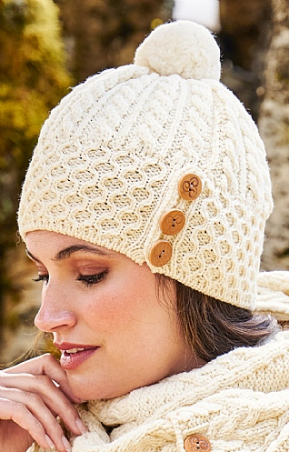 Aran Cable Hat with Buttons