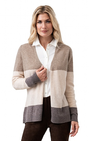 Pure Cashmere Block Stripe Cardigan