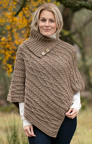 Ladies Aran Roll Neck Poncho