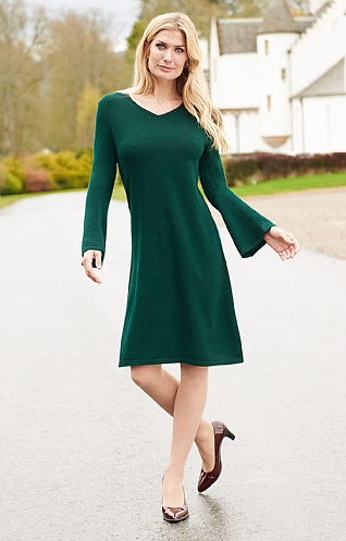 Merino & Cashmere V Neck Tunic Dress