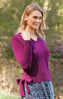 Silk & Cashmere V Neck Bow Sweater