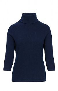 Silk & Cashmere 3/4 Sleeve Roll Neck