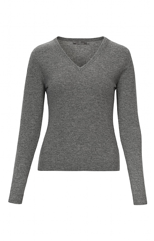 Ladies 2 Ply Cashmere V Neck