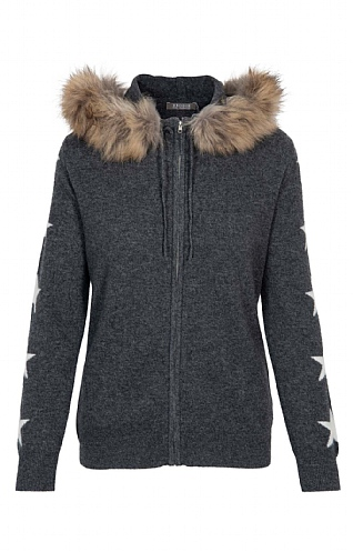 Brodie Cashmere NY Zip Hoodie with Fur and Stars