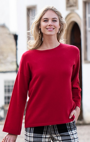 Ladies Bell Sleeve Cashmere Crew Neck
