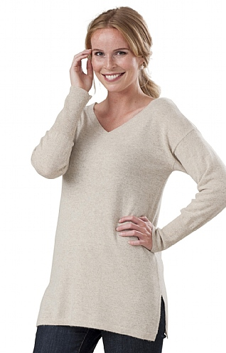 3653b30e69cdf Cashmere V Neck Long Tunic