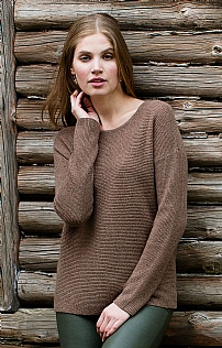 Ladies Ribbed Cashmere Crew Neck