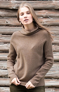 Ladies Ribbed Cashmere Cowl Neck
